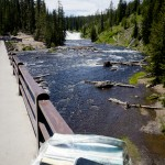 Crossing Lewis River in Yellowstone National Park.