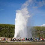Old Faithful Geyser in Yellowstone. Really impressive, but the sheer amount of tourists like me took away part of the excitement.