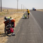 About two miles before arriving in Coulee City Sean broke a spoke. We still made it to a small gas station there in time to watch Germany win the world cup.